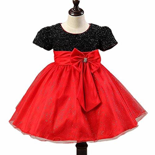 Byjia Kinder Rock Blumenmädchen Kleid Multi-Layer Chiffon Tüll Kurze Ärmel Hochzeit Festzug Brautjungfer Taufe Ballkleid Kleider Geburtstag Partei Kostüme Prinzessin Kinder Kleidung Red - Prinzessin Braut Kleid Kostüm Red
