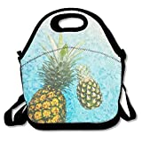 kkkujiOo Lunch Tote Bag, Large Lunch Bag, Adult Big Lunch Bags for Adults, Pineapples Water