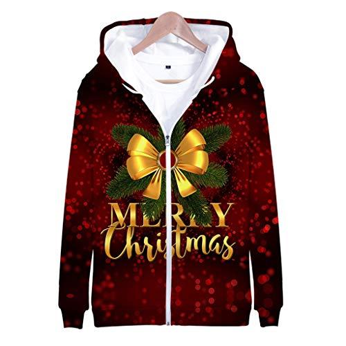 ODRD Unisex Ugly Jacket- Männer Casual 3D Merry Christmas Hoodie Kapuzen Langarm Mantel Pullover - Hässliche Pulli Weihnachtspulli Damen Herren Weihnachtsparty Sweatshirt S~4XL -
