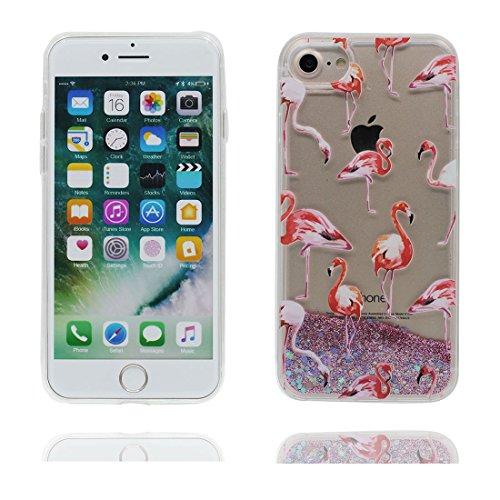 "iPhone 7 Plus Coque, Skin Hard Clear étui iPhone 7 Plus, Design Glitter Bling Sparkles Shinny Flowing Apple iPhone 7 Plus Case Cover 5.5"", Multiflora Rose résistant aux chocs Greater Flamingo"