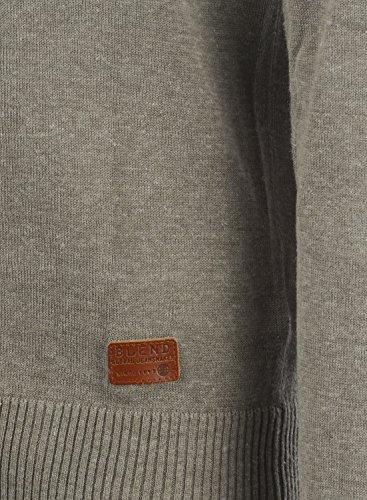 BLEND Lars Herren Strickpullover Feinstrick Pulli mit Rundhals-Ausschnitt aus hochwertiger Baumwollmischung Meliert Zink Mix (70815)