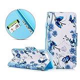 XinLuo Huawei Honor 9 Lite Handyhülle, Blumen Schmetterlinge PU Ledertasche Hülle Falten Book Design Taschehülle Kartenfächern und Standfunktion Handy Schutzhülle für Huawei Honor 9 Lite (5.65 Zoll)