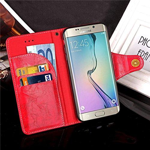Galaxy S6 Edge Custodia, Custodia Samsung Galaxy S6 Edge G925, Samsung Galaxy S6 Edge Custodia Portafoglio Pelle, JAWSEU [Shock-Absorption] Lusso 3D Goffratura Fiore Farfalla Wallet Leather Flip Cover Puro Rosso