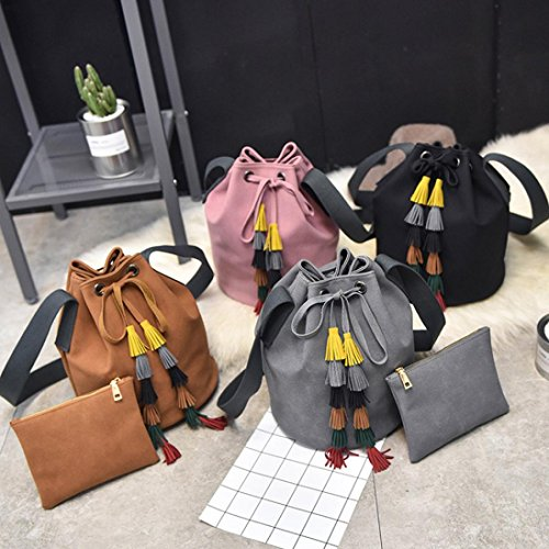 BZLine® Frauen Leder Handtasche Quaste Shoulder Bags Handtasche Messenger Tasche Schwarz