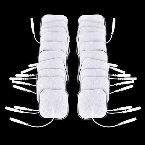 Tioodre rilievi dell'elettrodo, 20pcs rilievi dell'elettrodo tens elettrodi per tens terapia macchina digitale massaggiatore con spina 2mm, 4 * 4cm