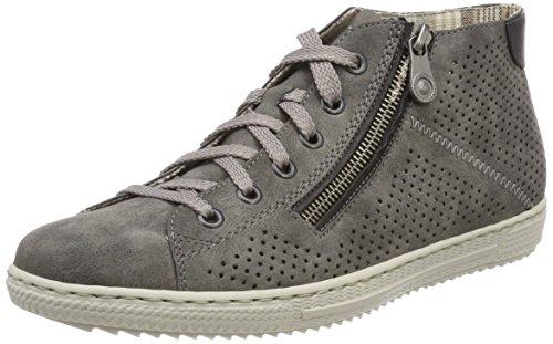Rieker Damen L9427 Hohe Sneaker, Grau (Smoke/Schwarz), 41 EU