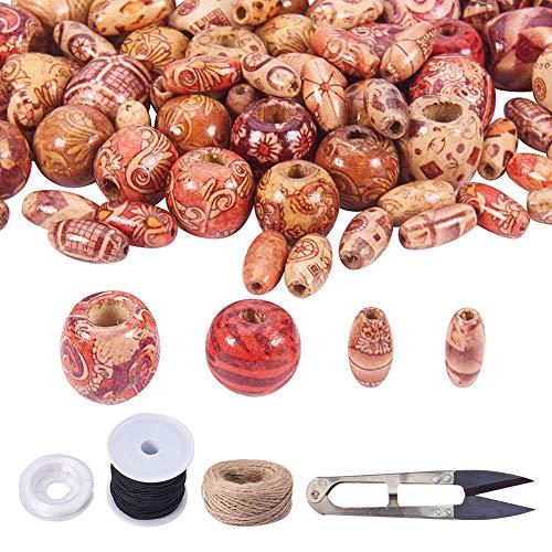 PandaHall Elite & reg Printed Holzperlen, Elastische Schnur, Hanfschnur, Schere, Mischfarbe, Perlen: 320pcs / Box (Mm 2 Perlen-schnur Elastisches)
