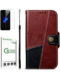 Penlicraft Galaxy S8 Hülle [mit Panzerglas], PU Leder Retro-Stil Distressed Oberfläche für Mann & Frau Handyhülle Schutzhülle Handyhüllen [Magnetverschluss] für Samsung S8(Dunkelrot)