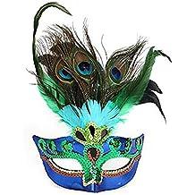 JXY - Máscara con plumas del pavo real para Halloween o disfraces de Cosplay