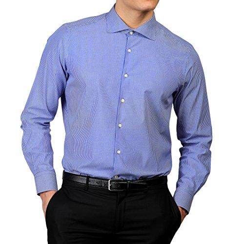 Royal Polo Herren Cardiff Hemd, gestreift, langärmlig Königsblau