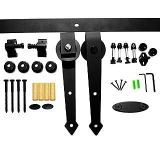 LWZH 5FT Sliding Barn Door Hardware Kit for Single Door(Black Arrow Shaped Hangers)