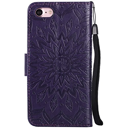 Custodia iPhone 7, iPhone 7 Cover, ikasus® iPhone 7 Girasole di Emboss Custodia Cover [PU Leather] [Shock-Absorption] Protettiva Cover Custodia in pelle verniciata Modello con Super Sottile TPU Intern Viola