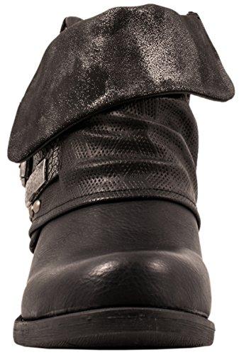 Elara Donna Stivaletti | Comodo Biker Boots | Metallic Print Rivetti | Chunky Ryan Schwarz Classic