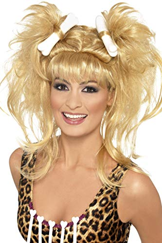 Smiffys 43269 - Verrückte Cavegirl Haarzopf Perücke Blonde mit Knochen