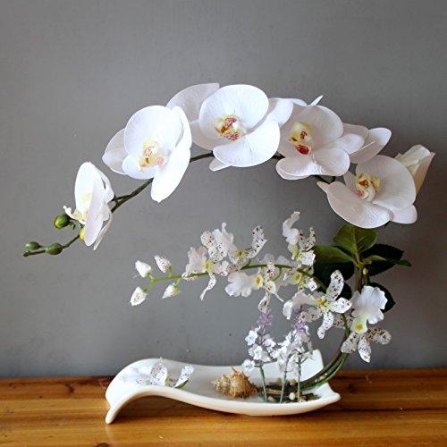 XIN HOME Simulación de flor artificial establecer Orquídea Mariposa Pu decoración floral Flor Salón Hotel mesa de exposición de arte floral, conjunto de cuencas de porcelana blanca