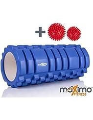 RODILLO DE ESPUMA DE MAXIMO FITNESS - Rodillo de espuma - Trigger Point - Cámara de Aire EXTRA SÓLIDA - Perfecto para el gimnasio o ejercicios en casa - 14cm x 33cm - Bolas de Masaje Gratis