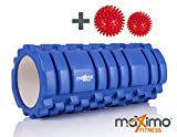 Maximo Fitness Rodillo de espuma con diseño Trigger Point con 2 Bolas de Masaje, Azul, 14cm x 33cm
