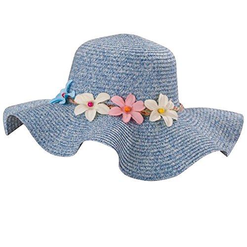 Femme Fille Chapeau de Paille Anti-soleil avec Fleur Chapeau de Plage Marine pour Femme