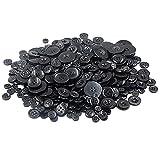 Demarkt Knöpfe zum Basteln DIY aus Harz 7-28mm etwa 660 Stück Schwarz Serie