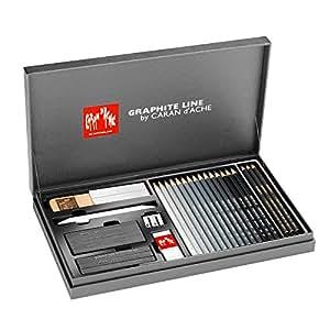 Caran d'Ache Graphite Line - étui en carton de luxe - assortiment de 18 crayons graphite, mines & accessoires