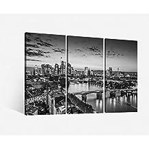 Leinwand 3 tlg. Frankfurt schwarz weiß Stadt Skyline Bilder Leinwandbild 9H059, 3 tlg BxH:120x80cm (3Stk 40x 80cm)