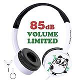 Kinder Kopfhörer Süßer Panda Ohrhörer mit Laustärkebegrenzung Verstellbares Kindgerechtes Headset