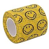 Benda autoadesiva, 4 tipi di nuovo nastro adesivo non tessuto a trama larga Nastro sportivo elastico forte per caviglia polso(viso giallo e sorriso)