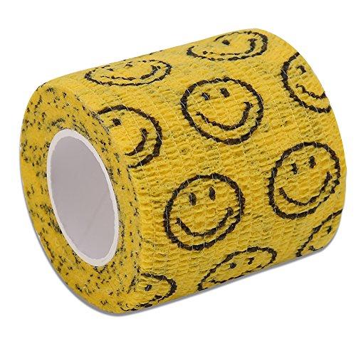 4 Arten Neue Vlies Elastische Selbstklebende Bandage Bequeme Wraps Sport Gelenke Support Tape Erste Hilfe Selbstklebende Rap Tape für Outdoor-Sport(Gelb & Lächeln Gesicht)