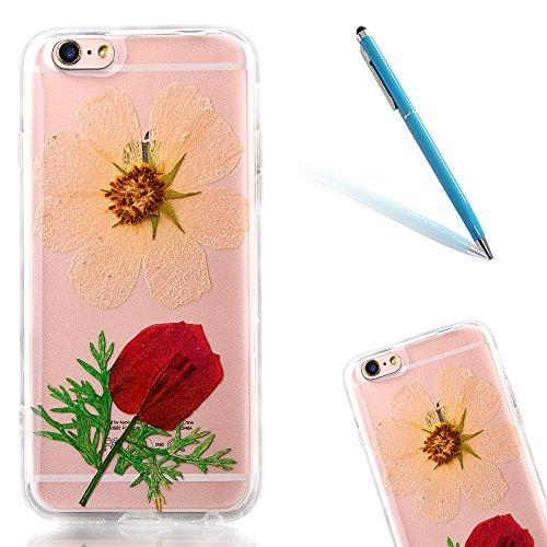 """iPhone 6s Schutzhülle, iPhone 6 Soft TPU Handytasche, CLTPY Modisch Durchsichtige Rückschale im Getrocknete Blumenart, [Stoßdämpfung] & [Kratzfeste] Full Body Case für 4.7"""" Apple iPhone 6/6s + 1 Stylu Flower 27"""