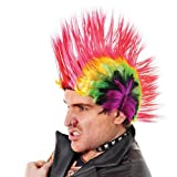 Homme Années 80années 70Rouge/bleu/Multi Spike Punk Rock Costume Mohican perruque perruque