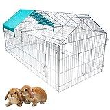 EUGAD Pollaio Galline in Metallo Recinto per Cani Conigli Piccoli Animali Conigliera Recinzione Rete Giardino 220x103x103 cm