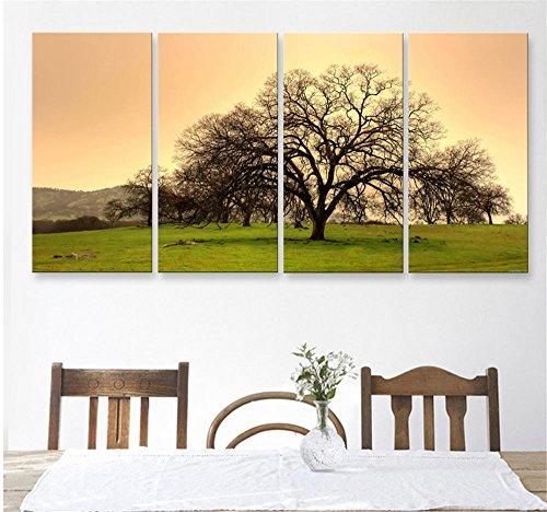 xiuxiandianju-4-pcs-creative-continenta-herbe-et-les-arbres-peinture-decorative-giclee-toiles-framel