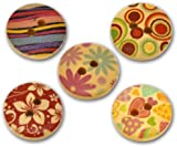 Pack of 25 Mixed Multicolour Flower Print Patterns, 2 Holes Round Wooden Buttons, for Sewing, Scrapbooking, Embelishments, Crafts, Jewellery making, shabby chic, Knitting, 15mm