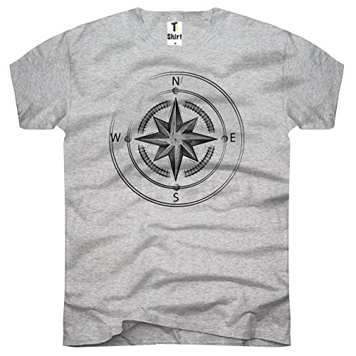 TEE-Shirt, Herren T-Shirt mit Aufdruck . Coole Motive. T-Shirt mit Kompass Druck. Größe L,Grau
