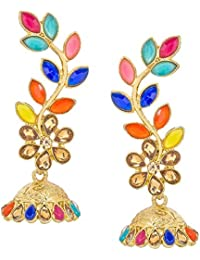 The Luxor Gold Plated Multicolored Stylish Party Wear Dangler Earrings For Girls And Women(ER-1805)