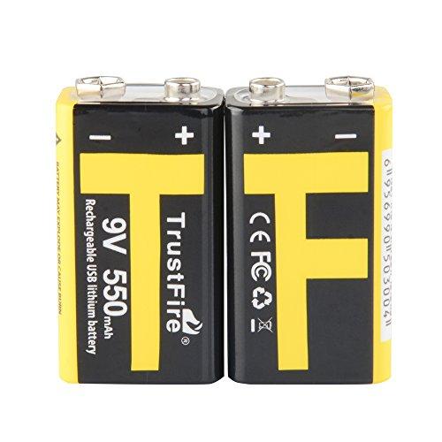 2 x Original TrustFire® Micro-USB wiederaufladbare 550mA 9V Li-Ion-Akku mit Box -