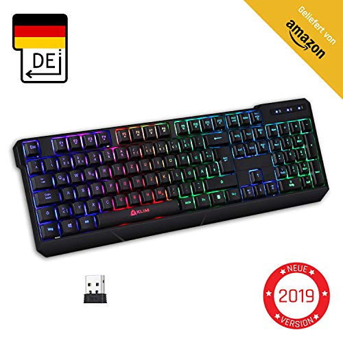 KLIM Chroma Wireless Gaming Tastatur Kabellos QWERTZ DEUTSCH + Langlebig, Ergonomisch, Was