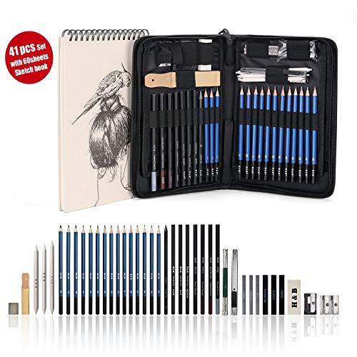 """AGPTEK 41tlg Zeichenset - Bleistifte Skizzierstifte Set mit einem 60 Blatt Zeichenblock, 5H-8B Künstlerset im Reißverschluss Etui, Zeichnung Zubehör Set für Künstler, Anfänger, Schüler -\""""MEHRWEG\"""""""
