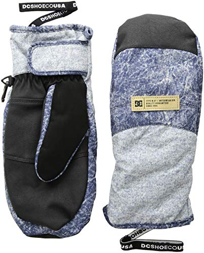 DC Apparel Damen Franchise Womens Snow MITT Glove Handschuhe für kaltes Wetter, Dark Blue Acid Wash Denim a, Mittel -