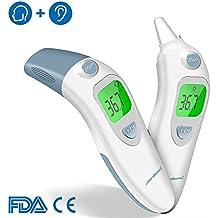 Infrarot Fieberthermometer Ohrthermometer Stirnthermometer Baby - Professionelle Digital Thermometer für Baby Kinder Erwachsenen und Objekte Oberflächen mit Fieber Indikator