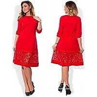 2da09bbdae YYDRESS Vestido de Mujer de Gran tamaño de Encaje de Encaje - Rojo