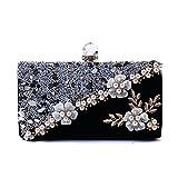 Flada Girl's Evening embrayages strass 3D fleur perles sacs à main sacs d'épaule noir