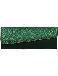 Mela Exclusive Partywear Ethnic Brocade Cross Flap Clutch for Women-Green