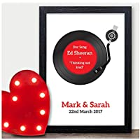 PERSONALISED Wedding First Dance Song Record Vinyl Print - Anniversary Gift - PERSONALISED for ANY Wedding Anniversary 1st, 2nd, 5th, 10th, 50th - Black or White Framed A5, A4, A3 Prints or 18mm Wooden Blocks