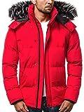 OZONEE Herren Winterjacke Parka Jacke Kapuzenjacke Wärmejacke Wintermantel Coat Wärmemantel Warm Modern Täglichen 777/200K ROT L