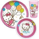 Unitedlabels 0119229 Frühstücksset - Melamin, Kunststoff - Trudeau - Hello Kitty, 3 teilig