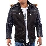 Herren Winterjacke Elements ID1313 gefüttert mit Lederärmeln und Kapuze , Farben:Schwarz;Größe Jacken:S
