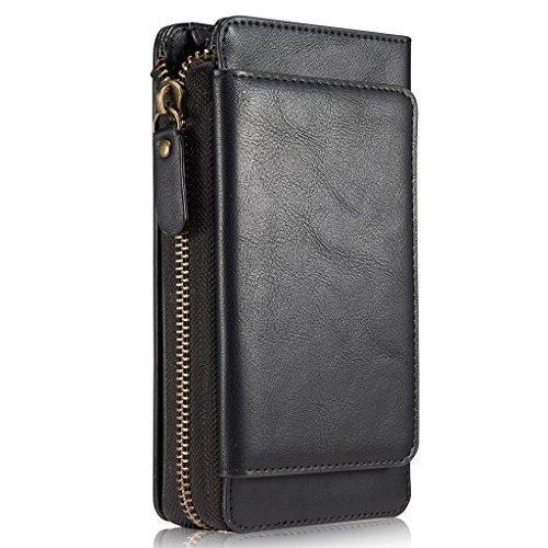 HARRMS iPhone 7 Plus Handy Hülle Leder Case mit Kartenfächer Geldscheinfach mit Reißverschluss Abnehmbar Magnet Schutzhülle, Schwarz -