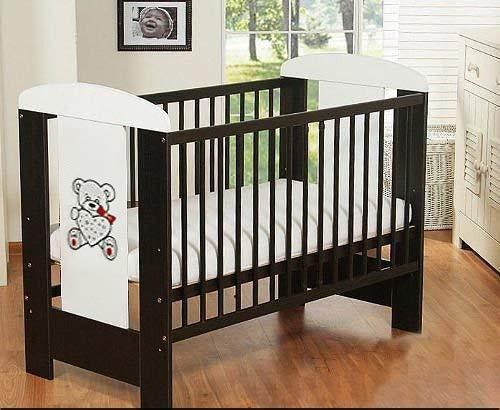 Best For Kids Gitterbett My Sweet Baby in 3 Farben mit oder ohne 10 cm Matratze aus Schaumstoff TÜV Zertifiziert Geprüft, Kinderbett Babybett braun 4 Teile 120x60 (Braun mit Matratze)