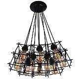 Luz colgante de hierro, lámpara de metal negro retro ajustable industrial de 10 luces para la cocina de la habitación Loft Island Illuminate Lamp